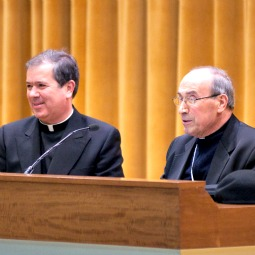 Fr. Alvaro Corcuera (L), general director of the Legion of Christ, and Cardinal Velasio De Paolis at a press conference.