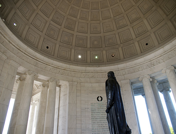 """These famous words are inscribed prominently inside the dome of the Jefferson Memorial in Washington, DC: """"I have sworn upon the altar of God eternal hostility against every form of tyranny over the mind of man."""""""