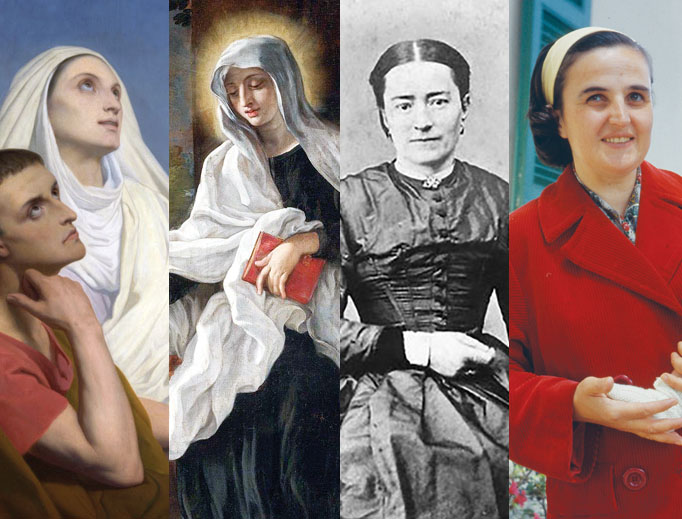 Left to right: Sts. Monica, Frances of Rome, Zélie Martin and Gianna Molla offer uniquely feminine witness from their own lives across the centuries of the Church.