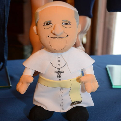 Pope plush doll and other merchandise