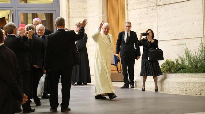 Pope Francis leaving the synod hall on the final day of the second Synod on the Family, Oct. 24, 2015.