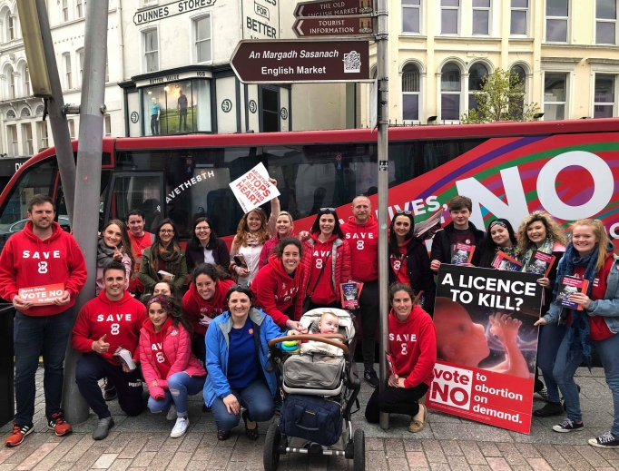 Pro-lifers campaign for a 'No' vote in May 25 referendum in Ireland.