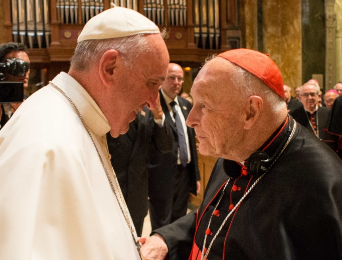 Disgraced former Cardinal Theodore McCarrick in Rome with Pope Francis, 2018.