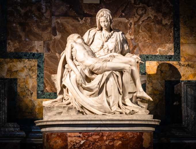 The Pietà, by Michelangelo Buonarroti, inside St. Peter's Basilica.