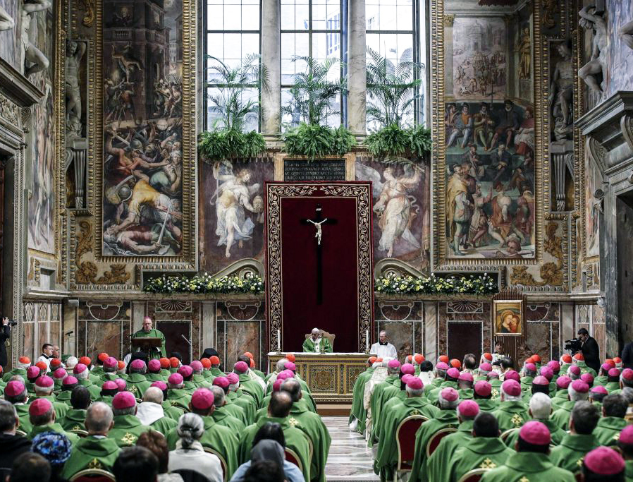 Pope Francis offers Mass at the Sala Regia in the Vatican on Feb. 24, the fourth and last day of a global summit on the sex-abuse crisis in the Catholic Church.