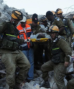 Israeli soldiers rescue a man trapped in a ruined building in Port-au-Prince, Haiti, following the devastating 2010 earthquake.