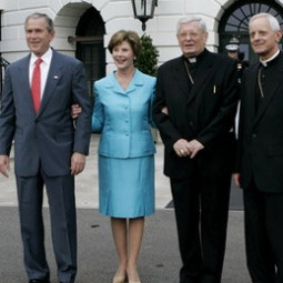 President George W. Bush and Laura Bush welcomed papal nuncio Pietro Sambi (second from right) and Washington Cardinal Donald Wuerl to the White House July 18, 2006.