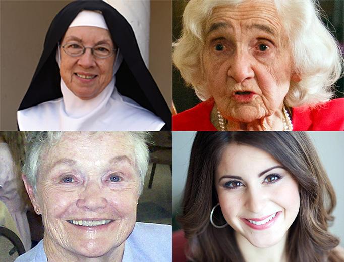 Clockwise, from upper left: Mother Miriam, Alice Hildebrand, Lila Rose, Donna Steichen