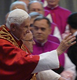 Pope Benedict XVI in St. Peter's Basilica during the Nov. 24 consistory of cardinals.