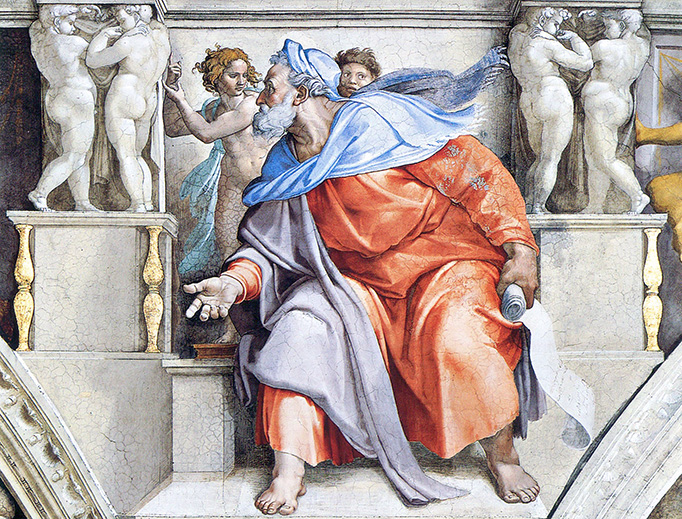 Michelangelo's Ezekiel on the ceiling of the Sistine Chapel