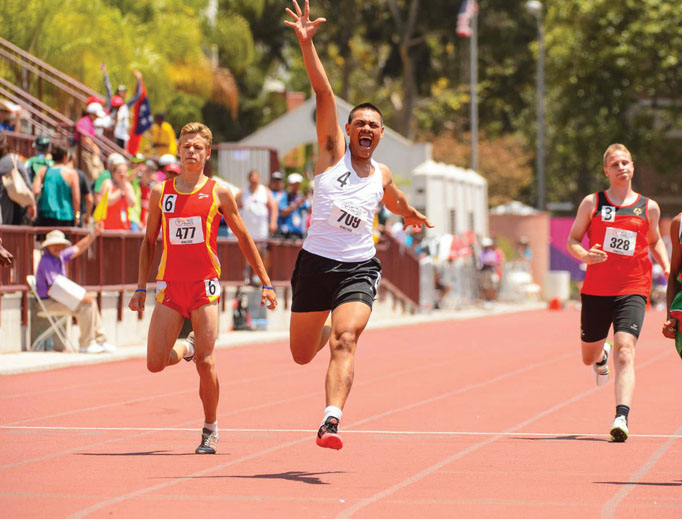 Athletes compete at the Los Angeles 2015 World Games in athletics.