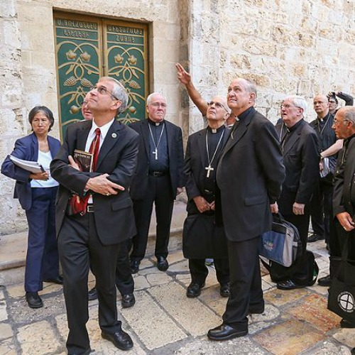 Bishops from the U.S. make a pilgrimage to the Church of the Holy Sepulchre on Sept. 11.
