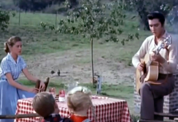 Elvis Presley sings for Dolores Hart — now Benedictine Mother Dolores Hart — in the 1957 film Loving You.