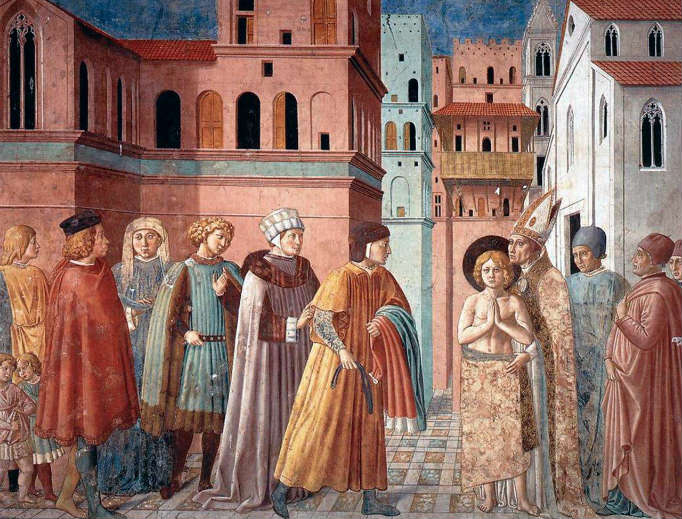 Benozzo Gozzoli, Scenes from the Life of St. Francis 3: Renunciation of Worldly Goods (1452, fresco, monastery church of St. Francis, Montefalco, Perugia, Italy)