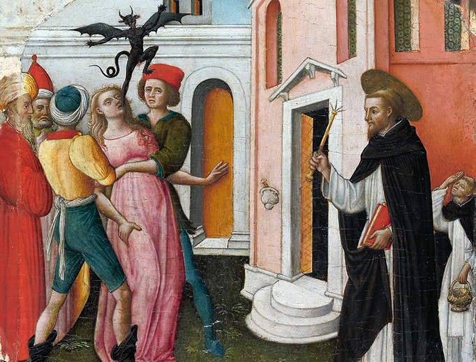 "Antonio Vivarini (1440–1480), ""Saint Peter Martyr Exorcizing a Woman Possessed by a Devil"""