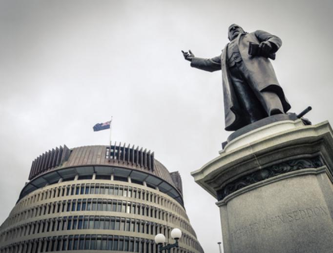 The bronze statue of Richard John Seddon at Parliament building in Wellington, New Zealand.