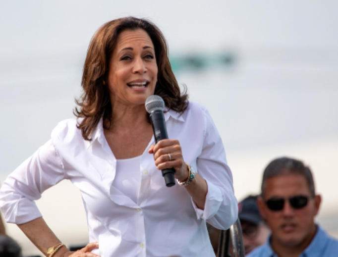 United States Senator and Democratic presidential candidate Kamala Harris greets supporters at the Iowa State Fair political soapbox in Des Moines, Iowa on August 10, 2019: