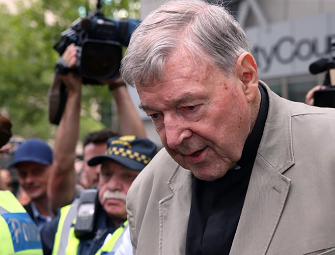Cardinal George Pell leaves the County Court of Victoria in Melbourne, Australia, on Feb. 26, 2019.