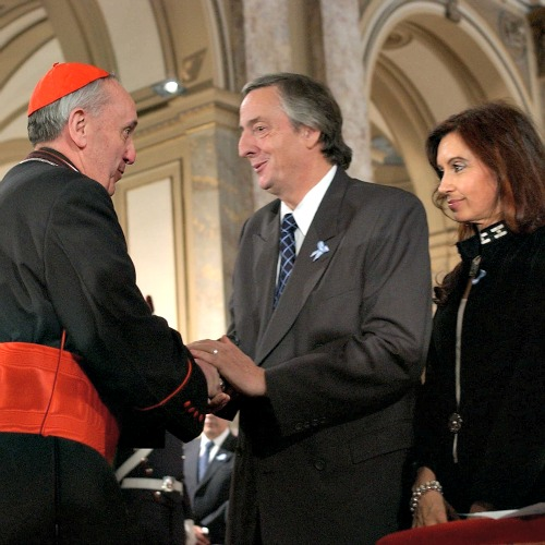 Nestor and Cristina Kirchner meet with Pope Francis, then-Cardinal Jorge Bergoglio, in 2004 in Buenos Aires.