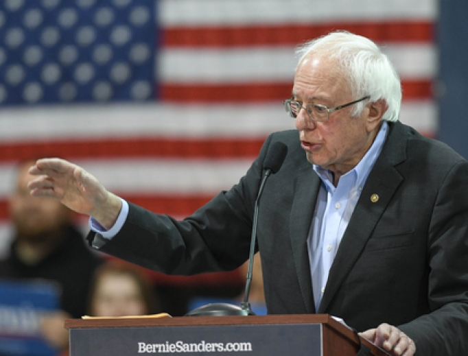 Senator Bernie Sanders, I-Vermont, speaks at Franklin Pierce University the day before the New Hampshire primary, February 10, 2020.
