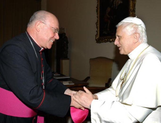 Pope Benedict XVI (r) greets then-Archbishop William Levada on June 3, 2005. Archbishop Levada was named guardian of Church doctrine that year, taking over the post of Cardinal Joseph Ratzinger when he became pope.