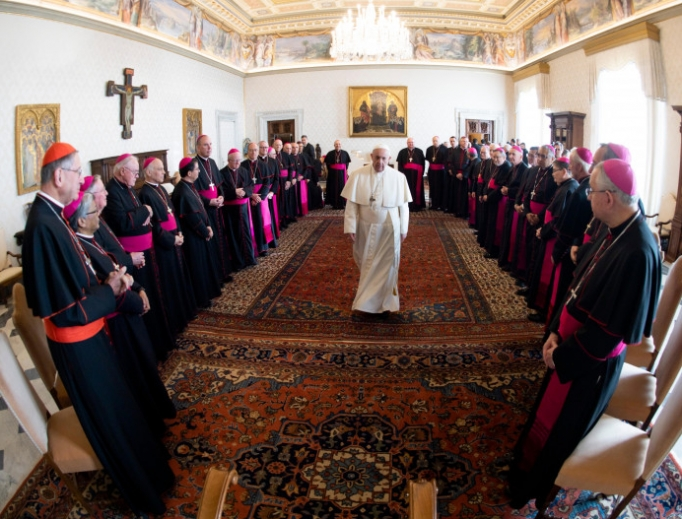 """Pope Francis received in a private audience at the Vatican members of the United States Conference of Catholic Bishops' Region XIII for their """"ad Limina Apostolorum"""" visit on Jan. 27. 2020."""