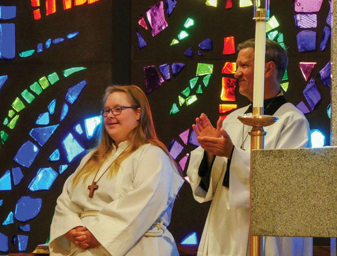 Kara Jackson, a young woman with Down syndrome who wants to serve Mass in all 50 states, in Northglenn, Colorado.