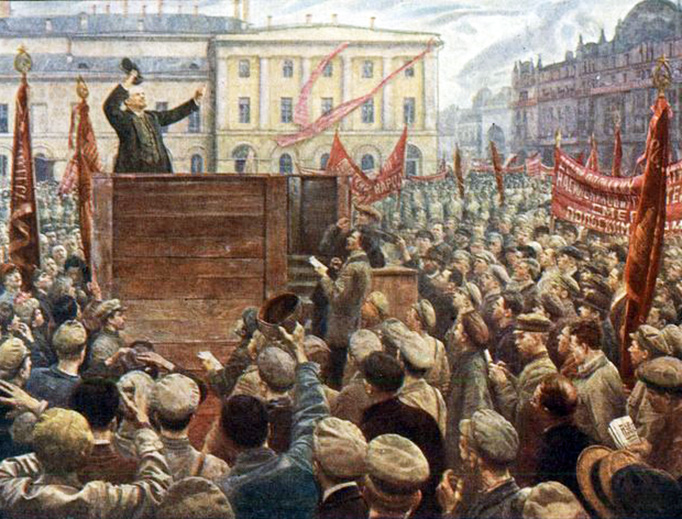 """Isaak Brodsky (1883–1939), """"Speech by V.I. Lenin before the units of the Red Army, sent to the Polish front in 1920."""""""