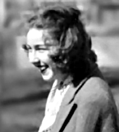 Flannery O'Connor in 1947; stamp image courtesy of the USPS
