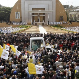 Pope Benedict XVI arrives by popemobile to celebrate Mass in Granaries Square outside St. Publius Church in Floriana, Malta, April 18, 2010. On his two-day visit, he spoke much about the permanence of marriage. A May 28 referendum will tell how much of that message Maltese accepted.