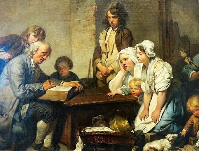 "Jean-Baptiste Greuze, ""Reading the Bible,"" 1755"