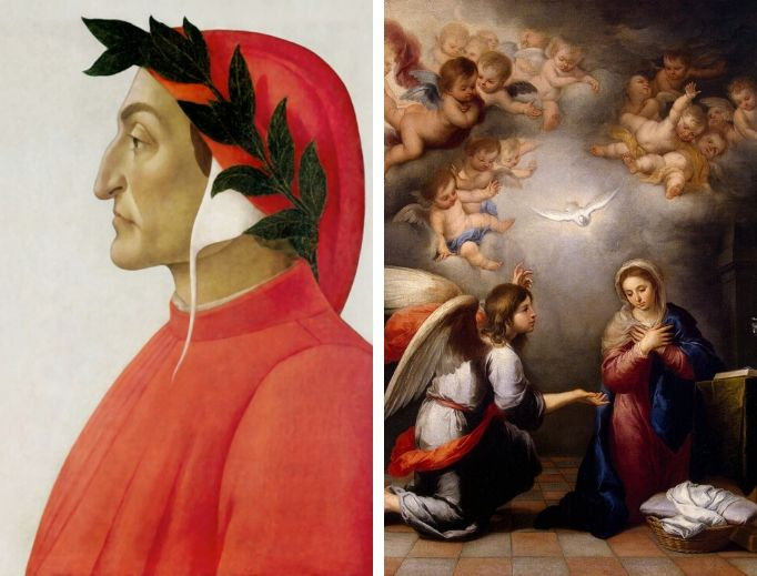 Left to right: posthumous portrait of Dante in tempera by Sandro Botticelli, 1495; The Annunciation by Murillo, 1655-1660