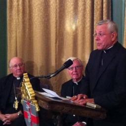 Bishop Peter Libasci talks at press conference Sept. 19.