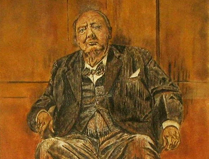 """This 1979 """"sand painting"""" attempts to reproduce Sutherland's painting of Churchill, """"a remarkable example of modern art"""". Lady Churchill had the original destroyed."""