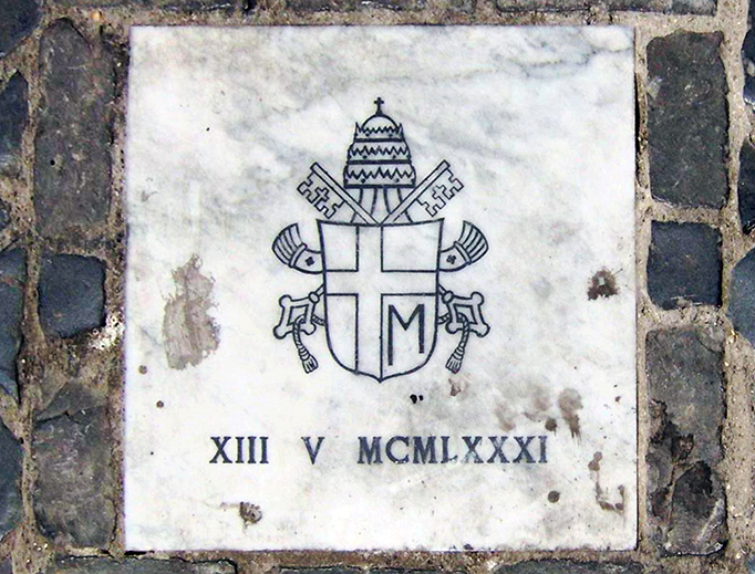 Stone marking the site of the 1981 assassination attempt in St. Peter's Square.