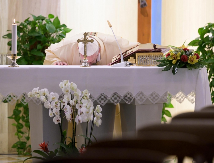Pope Francis celebrates Mass at Casa Santa Marta on April 24, 2020.