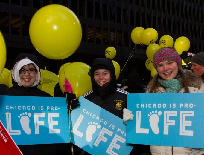 Above, a scene from last year's event in Chicago. Below, pro-lifers at a past Dallas March for Life and Walk for Life West Coast.