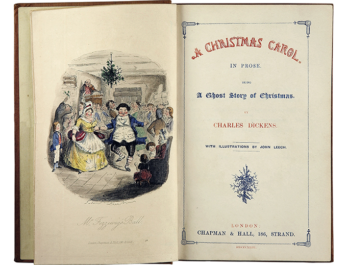 The title page of the first edition (1843) of Charles Dickens' A Christmas Carol, with Illustrations by John Leech.