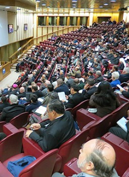 Ecclesia in America participants meet Dec. 10 in the Vatican's Synod Hall.