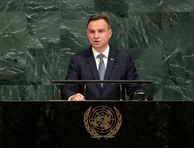 President Andrzej Duda addresses the U.N. General Assembly Sept. 19, 2017, in New York. He said last October he would sign into law a bill banning eugenic abortion.