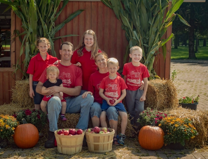Steve Tennes and his family at their Michigan farm.