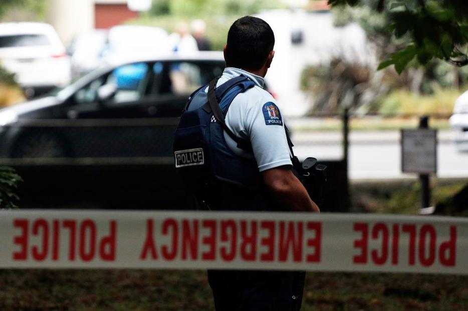 A police officer secures the area in front of the Masjid al Noor mosque after the deadly shooting in Christchurch March 15.