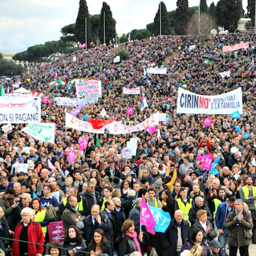 Supporters of marriage through the Circus Maximus in Rome at the Family Day celebration and rally.