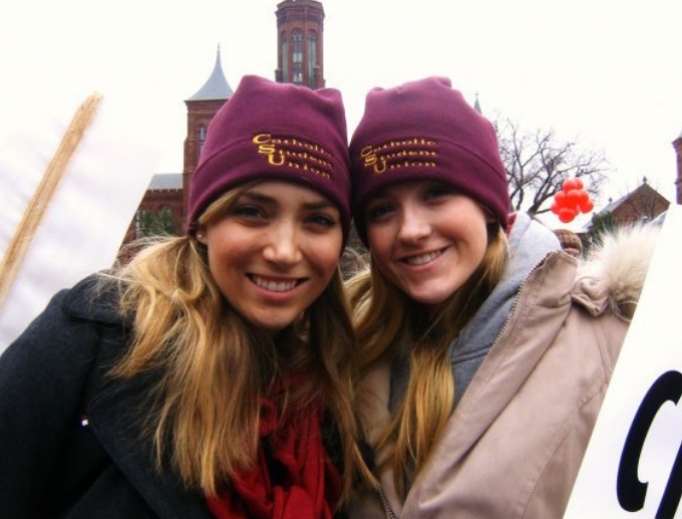 Above, Catherine Hadro (r) attends her first March for Life in January 2010 with her friend Tiffany (l); below, Hadro hosts this year's March for Life coverage on EWTN.