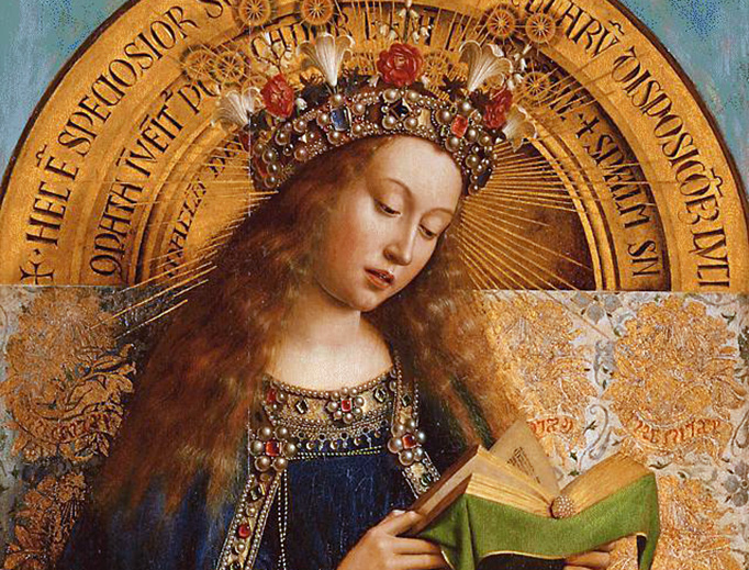 """Jan van Eyck, detail from """"Adoration of the Lamb"""" (Ghent Altarpiece), 15th century"""