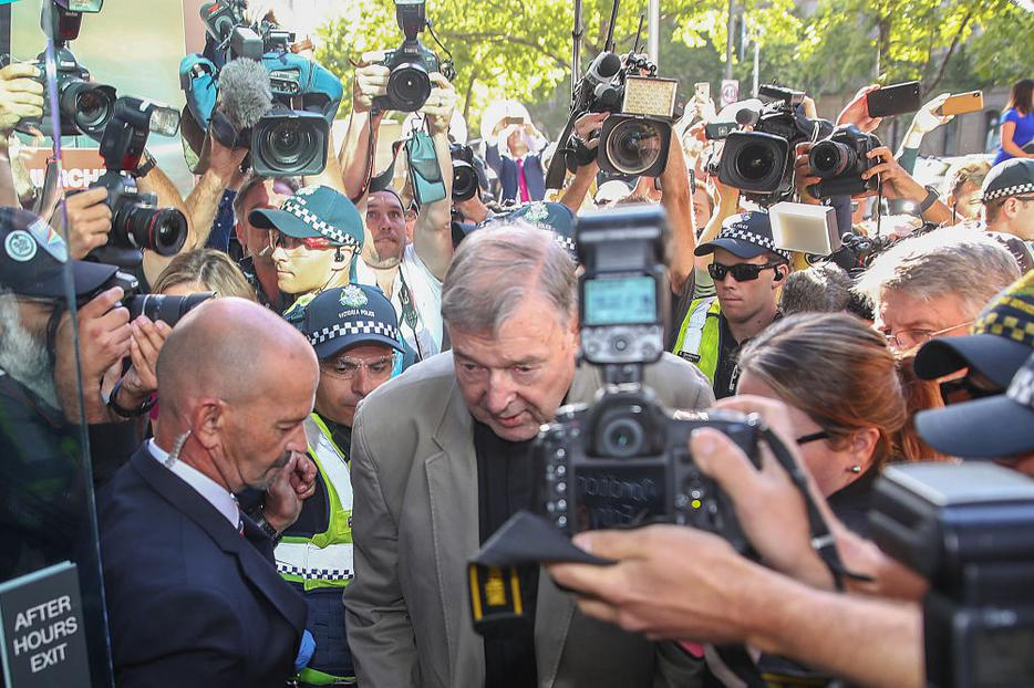 Cardinal George Pell arrives at Melbourne County Court Feb. 27 in Melbourne, Australia. Cardinal Pell was found guilty Dec. 11, but the result was subject to a suppression order and was only able to be reported since Tuesday.