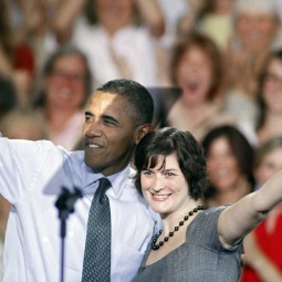Sandra Fluke, the Georgetown University law student who testified before Congress in support of insurance coverage of contraception, hugs President Obama during a 2012 presidential campaign event.
