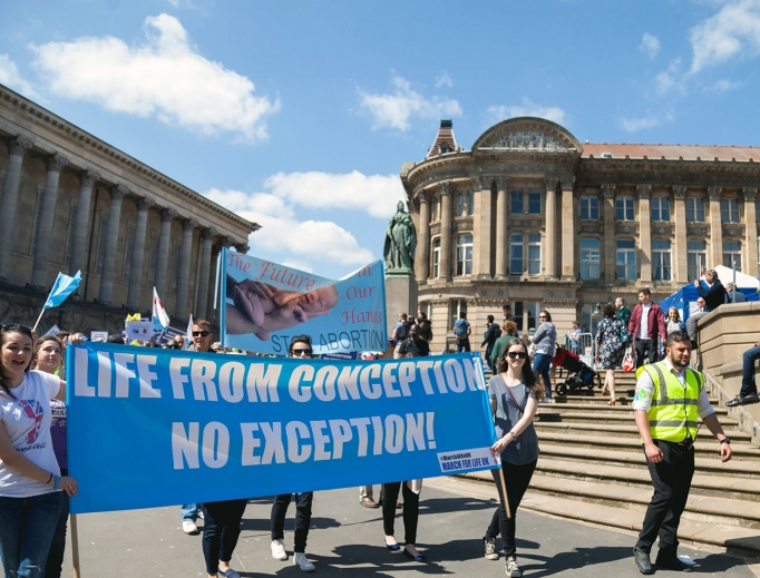 SIGNS FOR LIFE. Pro-lifers in Britain participate in March for Life UK to show their support for the dignity of human life.