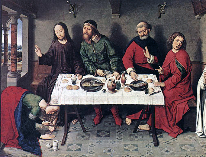 """Dieric Bouts, """"Christ in the House of Simon"""", ca. 1440s"""