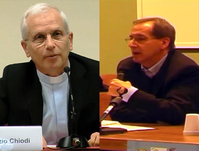 Fathers Maurizio Chiodi (L) and Pier Davide Guenzi (R)